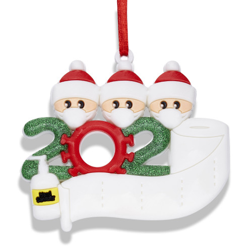 Personalized Name by Yourself Christmas Ornament Kit with Mask 2020 Quarantine Survivor Family Customized Christmas Decorating Kit Creative Decoration Gift for Family