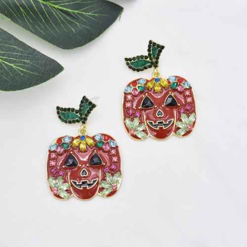 E-5931  Fashion Halloween Earrings 925 Silver Earrings Colorful Pumpkin Halloween Earrings Women Jewelry