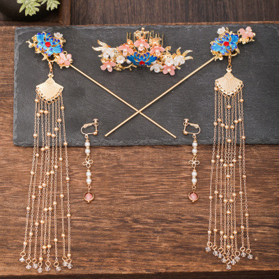 F-0807  Hanfu headdress hairpin earrings tassels full set of ancient style hair crown set step by step ancient costume hair comb jewelry Sets