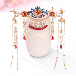 F-0808  Hair comb insert comb Hanfu antique fringed headdress Red retro hair crown earrings sets Bride costume headdress Jewelry set