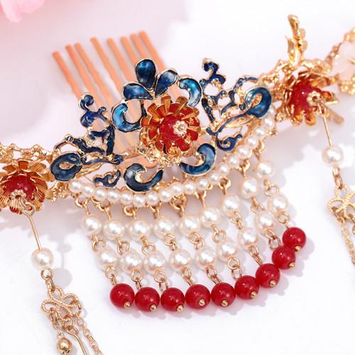 F-0808  Hair comb insert comb Hanfu antique fringed headdress Red retro hair crown earrings sets Bride costume headdress Jewelry set