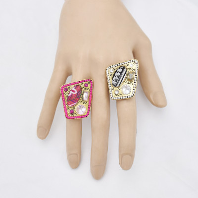 R-1534  Bohemian Vintage Gold Metal Crystal Finger Rings for Women Gypsy Adjustable Party Jewelry