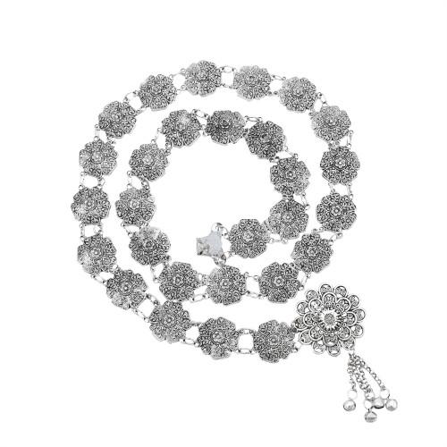 N-7426  Boho Vintage Silver Tassel Bells Body Chain for Women Indian Ethnic Dance Waist Chain