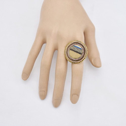 R-1535  Bohemian Vintage Golden Color Woven Cloth Adjustable Finger Ring Women Gypsy Jewelry