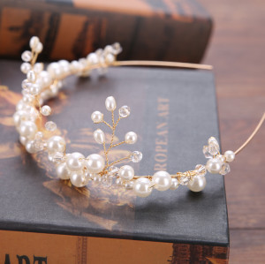 F-0810  European and American hot-selling bride handmade pearl hair lead buckle wedding dress accessories headband crown bridal Jewelry