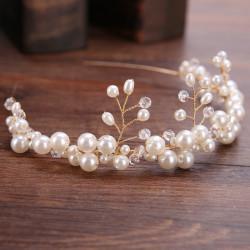 F-0810  European and American hot-selling bride handmade pearl hair lead buckle wedding dress accessories headband crown bridal Jewelry