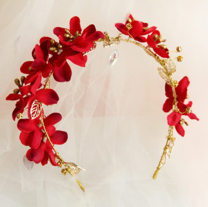 F-0811 Korean bridal hair accessories hair bands hair bands red flower heads wedding flowers wedding Hair accessories