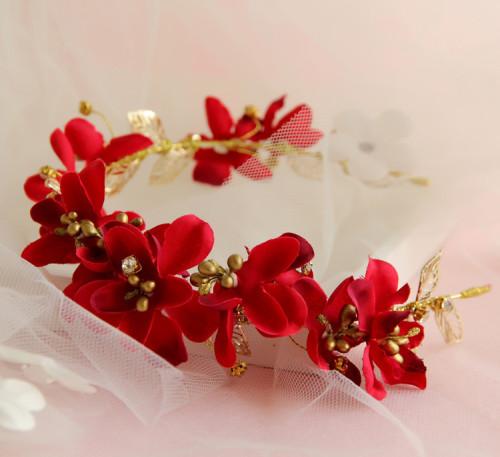 F-0811 Korean bridal hair accessories hair bands hair bands red flower heads wedding flowers wedding Hair accessories