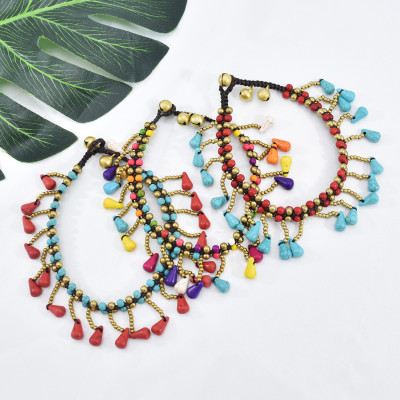 B-1088 Bohemian gold beads colored stone beaded with tassels retro braided bracelet party gift women jewelry