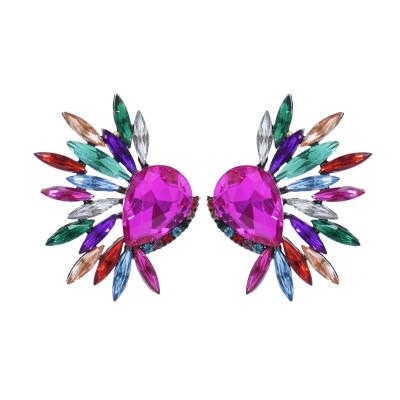 E-5939  Fashion colorful Diamond series Personalized drop-shaped glass radial rhinestone earrings female Jewelry Gift