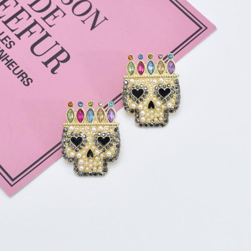 E-5940  new style stud earrings fashion gold plated crystal pearl colorful enamel skull handmade earrings jewelry