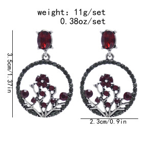 E-5943  Vintage Leaf Flower Crystal Rhinestone Drop Earrings for Women Bridal Wedding Party Jewelry Gift