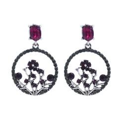 E-5943  Vintage Leaf Flower Crystal Rhinestone Drop Earrings for Women Bridal Wedding Party Jewelry Gift