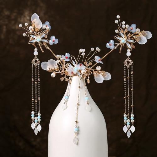 F-0813  Hanfu headdress hairpin comb earrings set dragonfly tassel hair accessories handmade antique accessories Jewelry set
