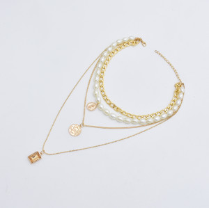 N-7430  Multilayer Pearl Crystal Pendant Choker Necklaces for Women Fashion Layered Thick Chain Necklace