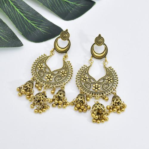E-5946  Vintage Palace Silver Zamak Indian Bells Tassel Earrings With Bird Cage For Women Jewelry