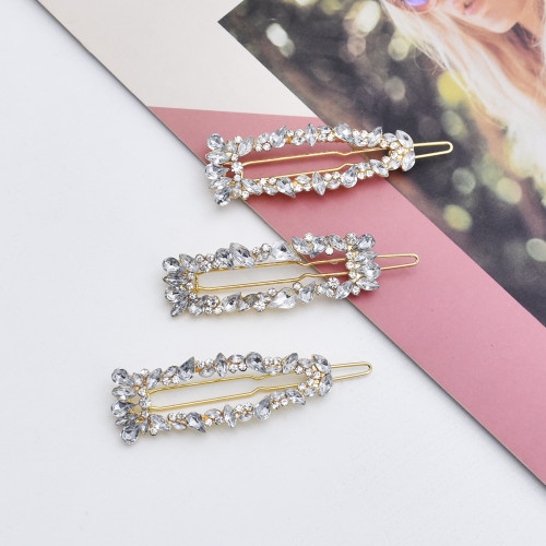 F-0815  3Pcs/Set Full Crystal Rhinestone Geometric Hairpins Hair Clips for Women Girl Holiday Party Hair Accessories