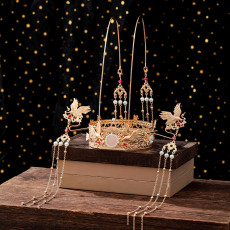 F-0816  Hanfu Accessories Golden Crane Hair Crown Antique Luxury Pearl Two-step Shake Bride Xiuhe Dress Headdress