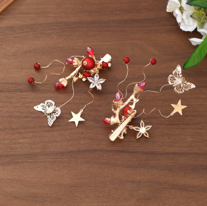 F-0818  Vintage Red Pearl Crystal Butterfly Star Hairpins Hair Combs Earring Sets for Bridal Wedding Hair Accessories