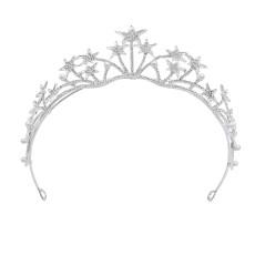 F-0821 Bridal Star Headband Crystal Rhinestones Silver Tiara Queens Princess Crown for Women Girls Wedding Birthday