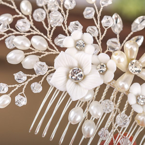 F-0822 korean magic hair comb handmade pearl flower hairband hair accessories bridal Jewelry