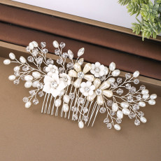 F-0822 korean magic hair comb handmade pearl flower hairband hair accessories bridal Jewelry