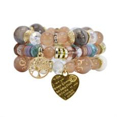 B-1089  3Pcs/Set Bohemian Acrylic Stone Heart Charms Statement Bracelets&Bangles for Women Party Jewelry Gift