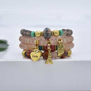 B-1090   4Pcs/Set Bohemian Acrylic Stone Heart Charms Statement Bracelets&Bangles for Women Party Jewelry Gift