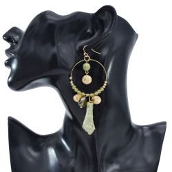 E-5949  Vintage golden bells green stone pendant transparent crystal earrings gift women jewelry