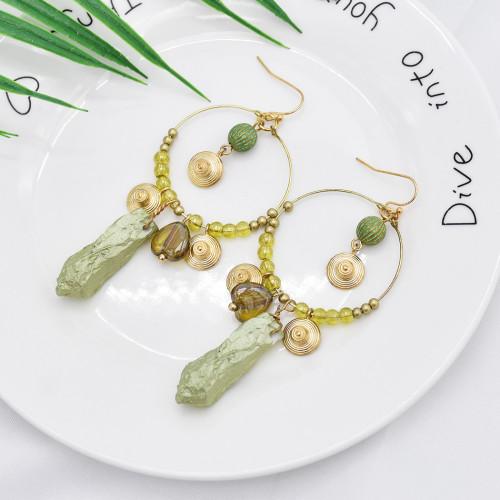 E-5949  Vintage golden bells green stone pendant transparent crystal earrings gift women jewelry