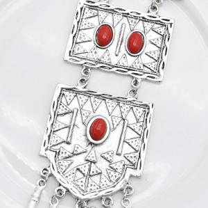 N-7434 Vintage Silver Metal Red Stone Necklace Bracelet Earrings Sets for Women Bohemian Gypsy Party Jewelry Sets