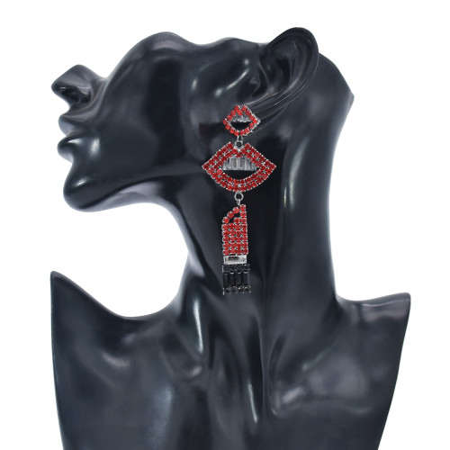E-5951 Vintage mouth rhinestone drop earrings bridal wedding party gift women jewelry