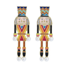 E-5953 Creative Cartoon Nutcracker Enamel Earrings for Women Girls Pearl Dangle Earrings Christmas Jewelry Gift