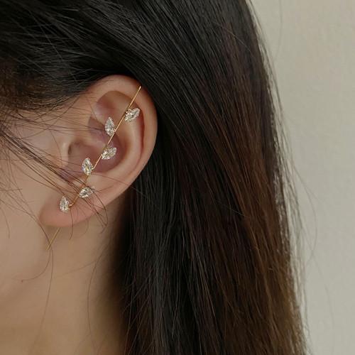 E-5959 Ear Wrap Earrings Crawler Hook Earrings Rhinestone Piercing Ear Cuff for Women Girls