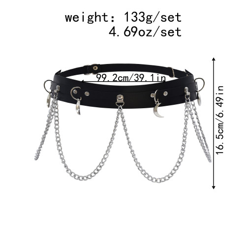 N-7436 Leather Body Harness Chain Belt Sexy black Body Chain women Straps Girls rave waist Jewelry Fashion Accessory
