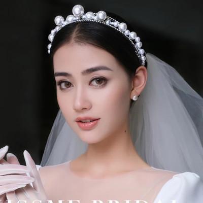 F-0826 Big Pearl Bridal Headband Crystal Rhinestones Gold Silver Tiara Queens Princess Crown for Women Girls Wedding Birthday