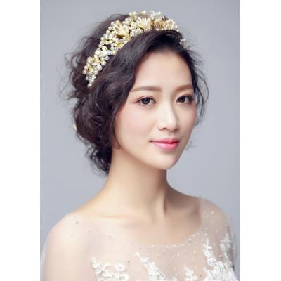 F-0825 Fashion Bridal European Crown Baroque Pearl Rhinestone Hair Accessories Bridal Dress Accessories Handmade Bridal Headwear