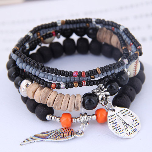 B-1093 5 layers rice beads crystal beaded coin wings pendant bracelet party gift women jewelry