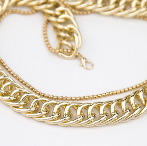 N-7438 Fashion Punk Style Double layer Alloy Choker Necklaces for Women Layered Thick Chain Necklace