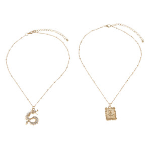 N-7439 Fashion Gold Layered Necklace for Women Rhinestone Dragon Rose Pendant  Choker Chain Necklaces