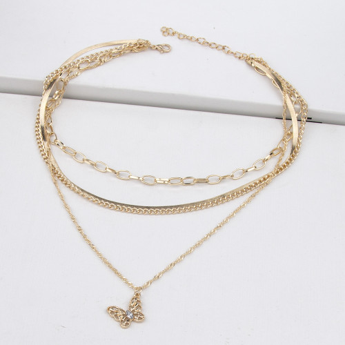 N-7440 Fashion Gold Rhinestone Butterfly Pendant  Necklace for Women Multi-layer Snake Chain Choker Necklaces