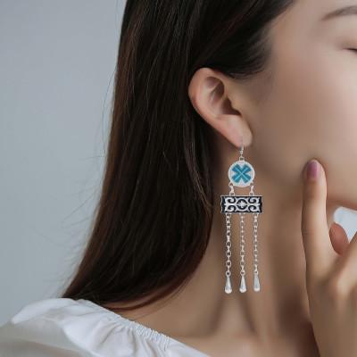 E-5961 Bohemian Vintage Silver Metal Long Tassel Drop Dangle Earring Gypsy Tribal Festival Party Jewelry Gift