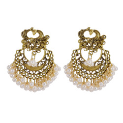 E-5964 Bohemian Retro Gold Beaded Tassel Dangle Earring for Women  Indian Gypsy Peacock  Drop  Earrings
