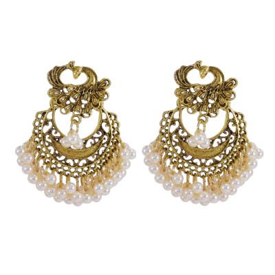 E-5964 Bohemian Retro Gold Beaded Tassel Dangle Earring for Women  Indian Gypsy Peacock  Drop  Earrings