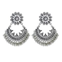 E-5965 Boho Retro Silver Beaded Tassel Dangle Earring for Women  Indian Gypsy Carved Flowers Drop  Earrings