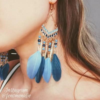 E-5967 Bohemian Vintage gold Metal Long Feather Tassel Drop Dangle Earring Gypsy Tribal Festival Party Jewelry Gift