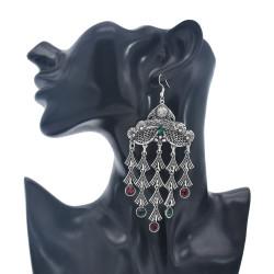 E-5968 Retro Silver Tassel Dangle Earrings for Women  Indian Gypsy Carved Flowers Rhinestone Drop  Earrings