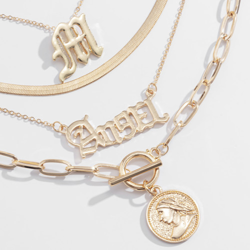N-7445 Multi-layer Letter Pendant Choker Necklace for Women Gold Silver Snake Thick Chain Necklaces