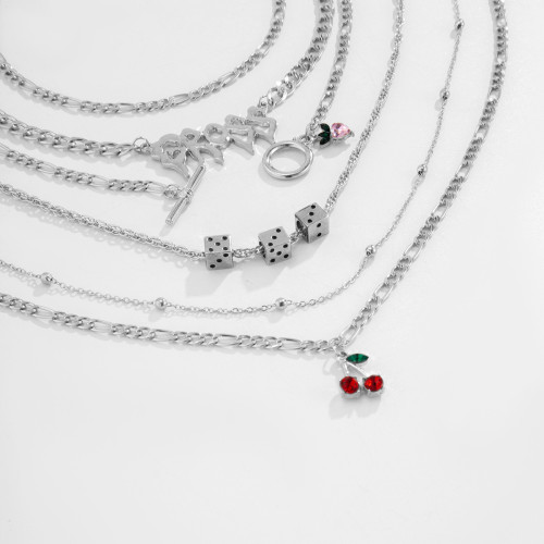N-7444 Silver Layered Letter Necklace for Women Girls Thin Choker Chain Lovely Cherry Dice Fashion Pendant Necklaces