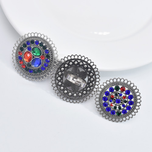R-1536 Bohemian Vintage silver crystal Adjustable Finger Ring Women Gypsy Jewelry